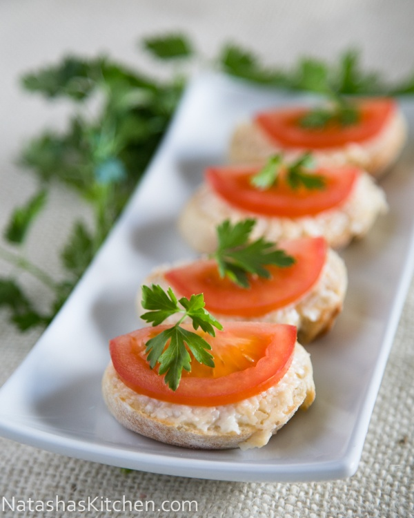 Gouda and Tomato Tea Sandwiches via Natasha's Kitchen (link here)