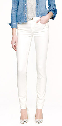 Midrise toothpick jean in white by J. Crew