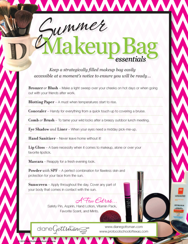 Summer Makeup Bag Essentials by Diane Gottsman Etiquette Expert and Modern Manners Authority