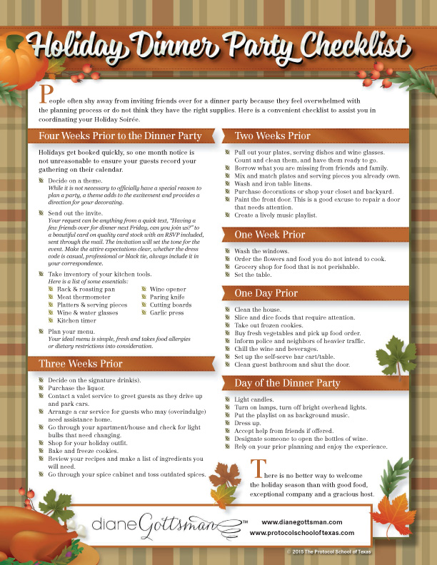 Holiday Dinner Party Checklist